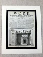 More details for 1890 antique print gothic fireplace interior design original victorian