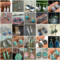 Vintage Turquoise 925 Silver Ear Hook Stud Dangle Drop Earrings Moonstone Gifts