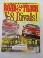 ROAD & TRACK MAGAZINE APRIL 1999 FORD MUSTANG COBRA VS CHEVROLET CAMARO SS CAR