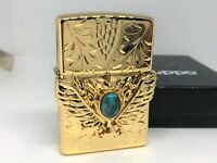 New ZIPPO 2014 Limited Model Gold-Plated Turquoise Stone Wing Metal Lighter Gold