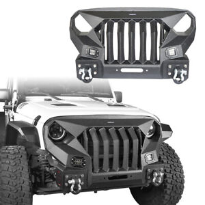 Mad Max Front Bumper Grill w/ 2x 18W LED Lights for 2007-2018 Jeep Wrangler JK