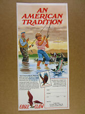 1984 EAGLE CLAW Hooks boy grandpa fishing rainbow trout art vintage print Ad