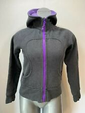 Lululemon Womens 6 Scuba Hoodie Zip front 2 pocket Charcoal gray purple