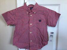 Chaps Short Sleeve Dress Shirt 24 Months Plaid 100% Cotton 28-30 Lbs New
