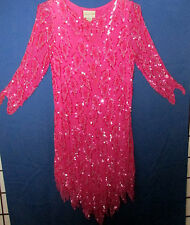 Chanson D' Amour vtg 80's Hot Pink Sheer Sequined Cocktail Evening Silk Dress M