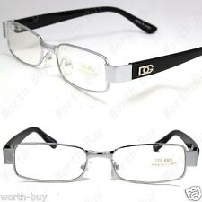DG Clear Lens Frames Glasses Small Rectangular Nerd RX Mens Women Fashion Silver