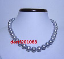 akoya AAAA 10-11 mm natural  silver grey pearl necklace 18 inch 14K  gold