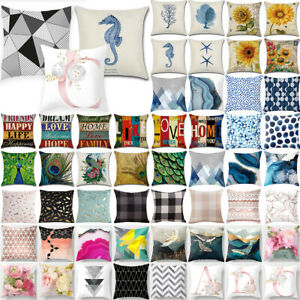 18x18'' Geometric Floral Printed Pillow Cases Square Cushion Covers Garden Decor