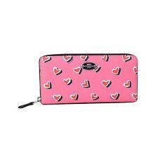 NEW Coach Heart Print Accordion Zip Wallet 52563 Pink Multicolor