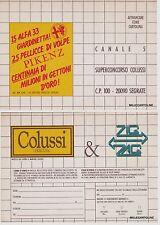 """# Pubblicitaria- cartoncino Biscotti """"COLUSSI"""" - cartolina concorso su Canale 5"""