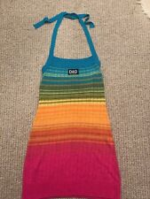 Dolce and Gabbana D&G Rainbow Multicolour Beach Halter neck dress Size 42 S M