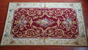 3' X 5' So Beautiful Needlepoint Rug Burgandy Gold Scroll French Chic Rose #26