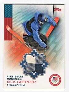 2014 Topps USA Olympic Authentic Team Relic Nick Goepper Freeskiing Memorabilia