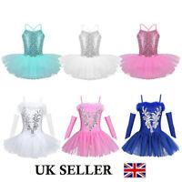 UK Girl Kid Ballet Dance Dress Loetard Sequins Tutu Skirt Ballerina Swan Costume