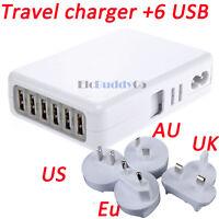 6 Port Universal USB Travel Wall Charger AC Power Adapter With AU/UK/US/EU Plug