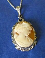 Hand Carved Shell Cameo Art Deco Sterling Silver Marcasite Vintage Pendant