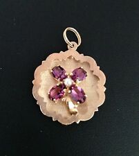 Vintage 14K Yellow Gold Four Leaf Clover Amethyst Pearl Pendant Charm ~One Owner