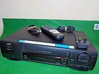 JVC VCR VHS VIDEO CASSETTE RECORDER Vintage HR-J255 Black Fully Tested + Remote