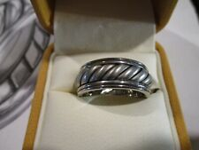 """SCOTT KAY PALLADIUM GENTS BAND size 9 New """"WAVE COLLECTION"""" ROPE HUGE 17.7 gr"""