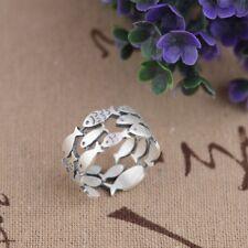 925 Sterlingsilber Ring Fische Fisch Tier Verstellbar Filigran Symbol Boho