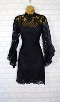 ~KARLA~ Black Floral Crochet Net Flare Sleeve Evening Mini Party Dress 8 10 12