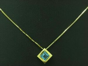 8kt 333 Yellow Gold Chain & Pendant With 0,80ct Blue Topaz Trim/ 2,2g/ 45,5cm