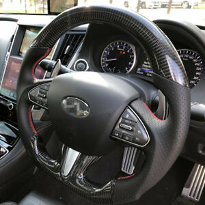 100% Real Carbon Fiber/Leather Car Steering Wheel For Infiniti Q50 Q50L