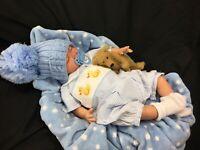 GORGEOUS NEWBORN REBORN BABY BOY SPANISH SMOCKED DUCK ROMPER S