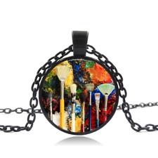 artist paintbrushes Black Glass Cabochon Necklace chain Pendant Wholesale