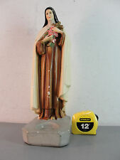 ST THERESE LISIEUX RELIGIOUS ICON CHALKWARE SCULPTURE STATUE CANDLE HOLDER 13""