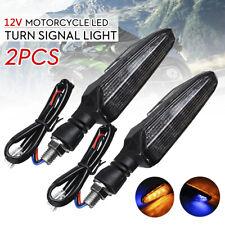 2pcs Motorcycle 15LED Turn Signal Light Double-sided Indicator Lamp Amber + Blue