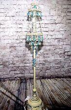 Antique Vintage Floor Lamp Light  Sea Horse Sea Shells Shade Beach Fixture Chic
