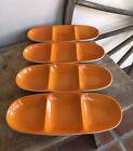 LAGARDO TACKETT Signed Mid-Century Schmid Porcelain Three Section Dish In Orange