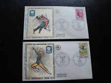 FRANCE - 2 enveloppes 1er jour 1968 (slalom/patinage) (cy34) french
