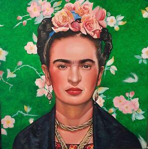 Frida Kahlo - BIG portrait ritratto olio su tela, oil on canvas, cm. 100 x 100
