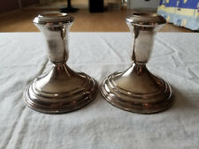 VINTAGE JOHN WANAMAKER STERLING SILVER WEIGHTED CANDLESTICK HOLDERS PAIR