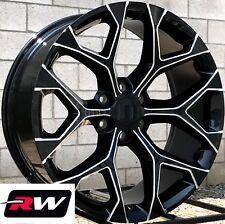 "22 x9"" inch Chevy Silverado Factory Style Snowflake Wheels Black Milled Rims"