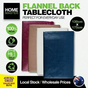 Home Master® Table Cloth Flannel Back 4 Colours Waterproof Re-usable 130x175cm