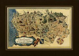 Champagne le Nord France small cartoon map c. 1950 decorative colorful old map
