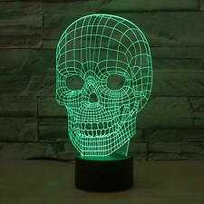 3D Skull Colorful Acrylic Lamp Visual Perspective LED Fashion  Nightlight