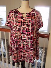 New Directions Women's P XL Blouse Multi Color Abstract Short Sleeve NWOT