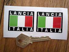 LANCIA ITALIA Tricolore Style Stickers 50mm Pair Race Rally Car Helmet Integrale