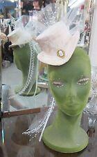 Vintg style bridal gothic Vict. riding tilt top topper steampunk brooch hat Lace
