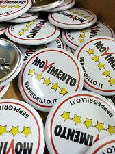 50 Buttons Spille Pins 37 mm con personalizzazione a colori Movimento 5 stelle