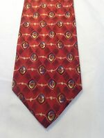JOS A BANK MENS TIE RED BURGUNDY AND GOLD 60 X 4