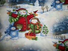 "New listing Snowman Family Winter Scene Cotton Fabric,  1 Yard & 12"" Uncut 42"" wide"