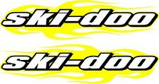 "Ski-doo snowmobile trailer flame 2 sticker decal set yello 11"" x48"" left & right"