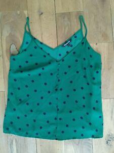 Cami Top 14 BonMarche Green Black Polka Dot Strappy