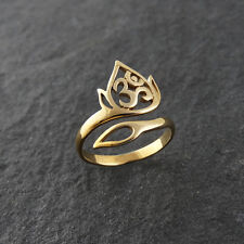 Natural Bronze Lotus & Om Ring - Adjustable Sz 7-10 NEW Namaste Yoga Jewelry Ohm