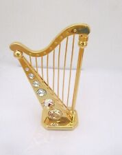 Figurine/Ornament  HARP -24k gold plated- 12 clear Austrian crystals
